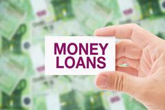 Money Loan in Euro Banknotes - stock photo