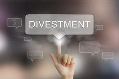 hand clicking on divestment button - stock illustration