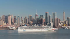 New York City Manhattan midtown skyline cruise ship - stock footage