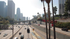 Los Angeles daytime downtown traffic and buildings skyline - stock footage