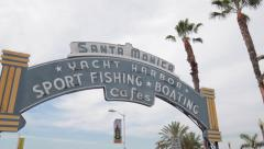 Santa Monica Pier sign pan - stock footage