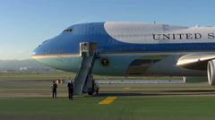 Air Force One at San Francisco Airport Stock Footage