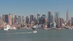 New York City Manhattan midtown buildings skyline Stock Footage