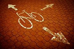 urban traffic concept - bike/cycling lane in a city - stock photo
