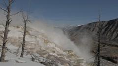 4K Winter super volcano vapor Stock Footage