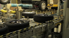 Pipelining tires Stock Footage