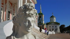 Sculpture at the entrance to the old homestead Kuskovo in Moscow. Stock Footage