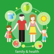 Healthy family concept - stock illustration