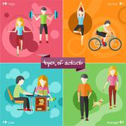 Healthy lifestyles daily routine - stock illustration