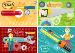 Turn-screw, saw, toolbox and wrench in hands Stock Illustration