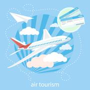 Detailed airplane flying through clouds in the blue sky - stock illustration