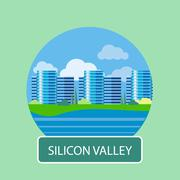 Office building in Silicon Valley - stock illustration