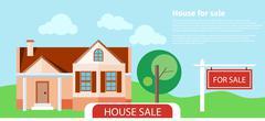 Sold home for sale sign Stock Illustration