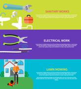 Sanitary, electrical work, lawn mowing Stock Illustration