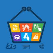Shopping basket with icons of online e-commerce Piirros