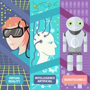 Artificial intelligence, reality virtual and robotechnics - stock illustration