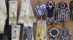 Souvenirs judaica Ein Karem jerusalem israel - stock footage