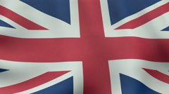 4K UltraHD Loopable waving British flag animation Stock Footage
