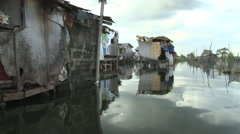 Manila flooding 2011 shantytown Philippines - stock footage
