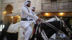 Arab horse police middle east market Stock Footage