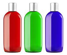 Set of color shampoo container Stock Photos