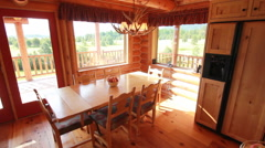 Dining table interior wood dolly Stock Footage
