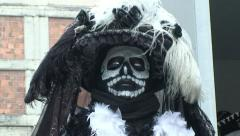 Catrina Dressed Man at Mexico City Street. Day Of The Dead Celebration. Stock Footage