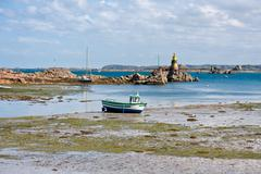 Coast of Brittany during ebb tide Stock Photos