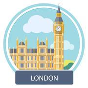 Big Ben and Westminster Bridge , London, UK - stock illustration