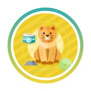 Adorable cat with different toys and elements Stock Illustration