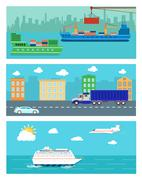 Stock Illustration of Shipping, delivery car, ship, plane