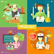 Architect, lawyer, doctor and pedagogue Stock Illustration