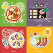 Italy, Japan, Spain and Germany food Stock Illustration