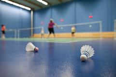 Badminton - badminton courts with players competing; shuttlecock Stock Photos