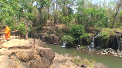 Pa Suam pan L-R to waterfalls, Laos Stock Footage