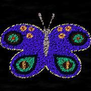Purple butterfly chalk drawing on black board - stock illustration