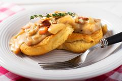 Vegetarian Biscuits and gravy on a white plate Stock Photos