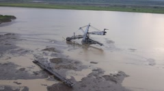 Flooded excavator Stock Footage