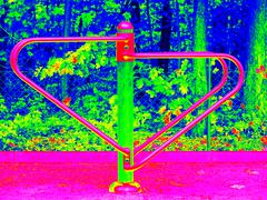 Seesaw in crawl construction on kids playground. Infrared scan in amazing the - stock illustration
