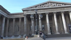Stock Video Footage of British Museum front side view London attraction building culture United Kingdom