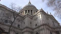 Saint Paul cathedral in London, back view, great britain weather, sunny day out Stock Footage