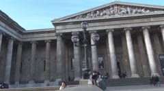 British Museum entrance side, great tall columns, britain architecture landmark - stock footage