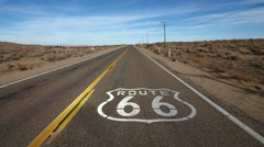 Route 66 Pavement Sign with Zoom Stock Footage