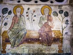 Old Orthodox Cave Mural - stock photo