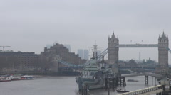 British architecture, London UK, Tower Bridge seen in foggy cloudy day, english Stock Footage