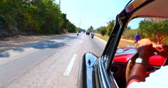 4K Point of View Riding in Back of Vintage American Automobile in Cuba - stock footage