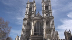 Full view of Westminster Abbey church, sunny London day, britain gothic building - stock footage