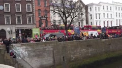 Dublin St Patricks Day Crowds Stock Footage