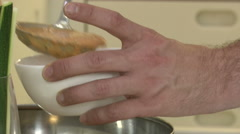 Chef pouring gazpacho in a bowl  Stock Footage