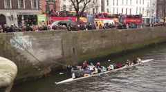 St Patricks Day Rowing Race Pre Start Stock Footage